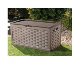 Small Rattan Garden Storage Box With Sit on Lid Brown