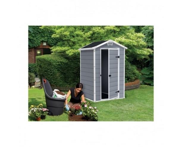 Keter Manor Plastic Garden Shed 4x3 Grey