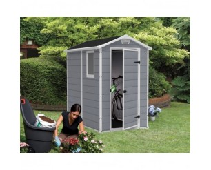 Keter Manor Plastic garden shed 4x6 grey