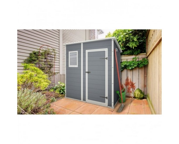 Keter Manor Plastic Garden shed 6x4 Pent Grey