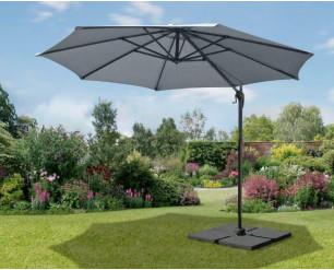 3m Garden Parasol Umbrella Cantilever Parasol W/360 degree Swivel Mechanism Grey