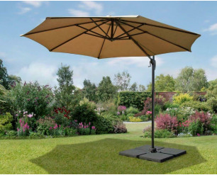 3m Garden Parasol Umbrella Cantilever Parasol W/360 degree Swivel Mechanism Taupe