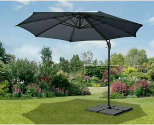 3m Garden Parasol Umbrella Cantilever Parasol W/360 degree Swivel Mechanism Charcoal