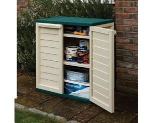 Starplast Double Door Storage Cabinet with 2 Shelves - Green
