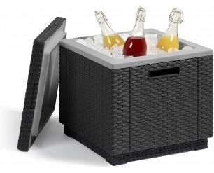 Allibert Ice Cube Cooler Graphite Outdoor Drinks Box Storage Table Keter Rattan