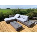 GSD Corner Sofa Sun lounger Rattan Wicker Luxury Garden Set - In Grey w/Grey/Blue Cushions