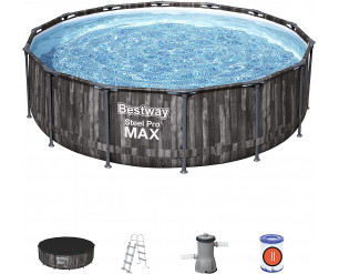 Bestway BW5614ZGB Steel Pro Max, Above Ground Swimming Pool with Filter, Rattan Print, 14ft