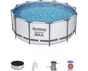 Bestway 56420 Steel Pro Max Round Frame Swimming Pool with Filter Pump, Grey, 12 ft