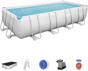 Bestway BW56465GB-21 Power Steel Above Ground Pool, with Pump and Ladder, Grey, 18 Ft