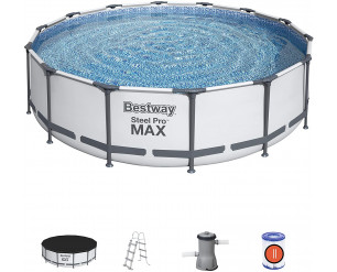 Bestway Steel Pro Max Round Frme Swimming Pool with Filter Pump, Grey, 14ft