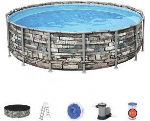 Bestway BW56966GB-21 Power Steel Swimming Pool, with Pump and ChemConnect, Stone Print, 16 Ft