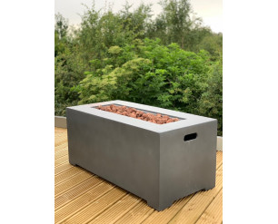 GSD 106cm Rectangular Modern Fire Pit Table Concrete w/FREE Cover