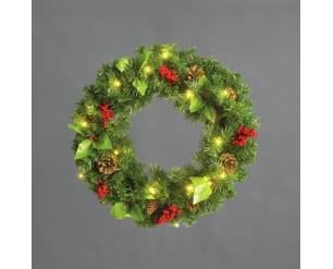 Snowtime Pre-lit 60cm Pine Cone & Berry Wreath
