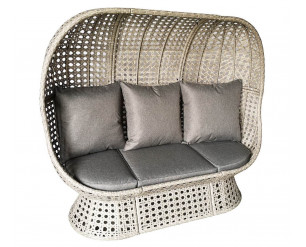 Double Rattan Cocoon Chair Bench For Gardens or Homes - Light Grey Rattan, Charcoal Weather Proof Cushion