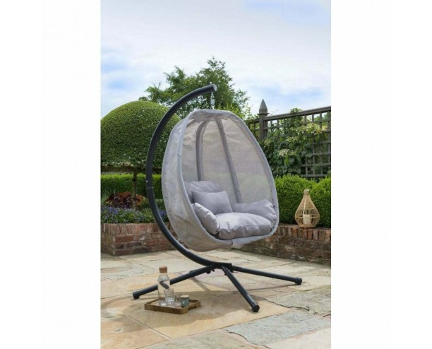 Grey Cocoon Hanging Egg Chair Swing - Textilene