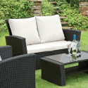 GSD Rattan Garden Furniture 4 Piece Patio Set- Black with cream cushions