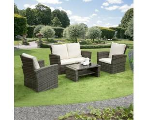 GSD Rattan Garden Furniture 4 Piece Patio Set- Grey with cream cushions