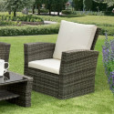 GSD Rattan Garden Furniture 4 Piece Patio Set- Grey with cream cushions