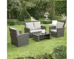 GSD Rattan Garden Furniture 4 Piece Patio Set- Grey with grey cushions