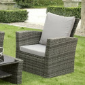 GSD Rattan Garden Furniture 4 Piece Patio Set- Grey with grey cushions