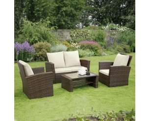 GSD Rattan Garden Furniture 4 Piece Patio Set- Brown with cream cushions