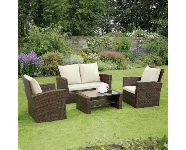 GSD Rattan Garden Furniture 4 Piece Patio Set- Brown with cream cushions