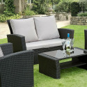 GSD Rattan Garden Furniture 4 Piece Patio Set- Black with grey cushions