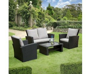 GSD Rattan Garden Furniture 4 Piece Patio Set- Black with grey cushions