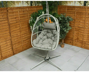 Holly Folding Single Cocoon Egg Chair Swing  - Cappuccino