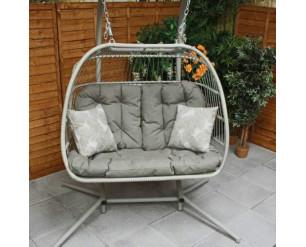 Eleanor Double Folding Cocoon Egg Chair Swing  - Latte