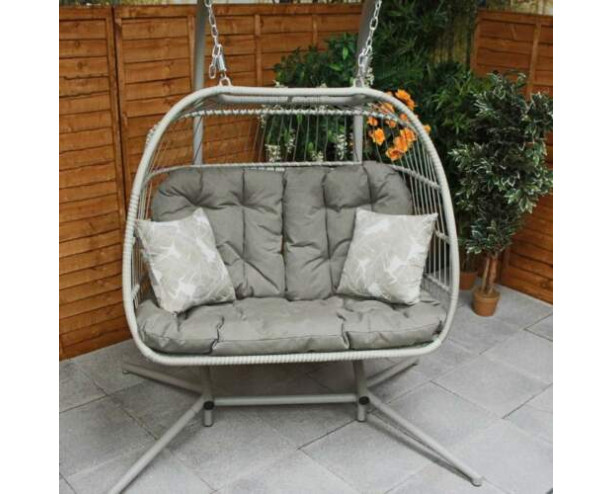 GSD Cocoon Egg Chair Swing Folding Double Eleanor - Cappuccino