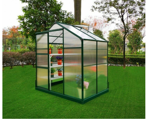 GSD Greenhouse Aluminium Polycarbonate With Steel Base 4x6