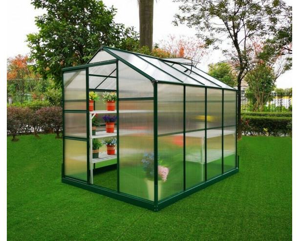 GSD Greenhouse Aluminium Polycarbonate With Steel Base 6x8