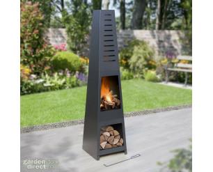 GSD 5ft Chiminea Pyramid Log Burner Garden Fire Pit