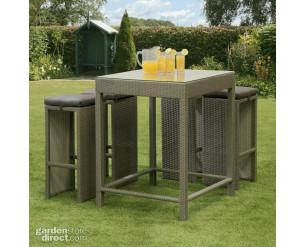GSD Rattan Wicker Bar Stool Dining Table Set Grey 5
