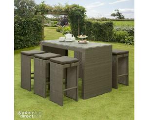 GSD Rattan Wicker Bar Stool Dining Table Set Grey 7