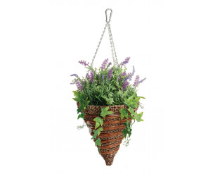 """12"""" Artificial Hanging Baskets - Lavender & Ivy Cone. UV, Weighted, Wind Secure Clasp"""