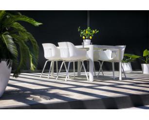Hartman Jill Rondo Ceramic Glass Rectangular Dining Table - White Frame