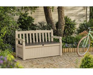 Keter Eden Bench Outdoor Plastic Storage Box Garden Furniture, Beige and Brown, 140 x 60 x 84 cm