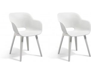 Keter Akola Chair, White - Pair of Chairs