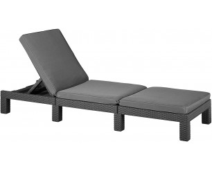 Allibert Daytona Sunlounger - Graphite with Grey Cushion