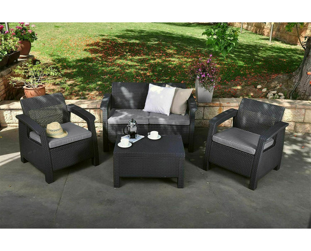 Keter Corfu Outdoor 4 Seater Rattan Sofa Furniture Set - Grey