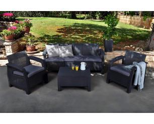 Keter Corfu Outdoor 5 Seater Rattan Sofa Furniture Set - Grey