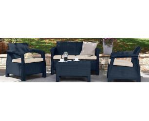 Keter Corfu Outdoor 4 Seater Rattan Sofa Furniture Set - Grey - Cream Cushions