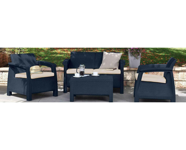 Keter Corfu Outdoor 4 Seater Rattan Sofa Furniture Set - Grey - Cream Cushions
