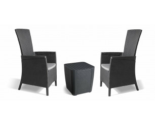 Keter Vermont Rattan Reclining Duo Coffee Set