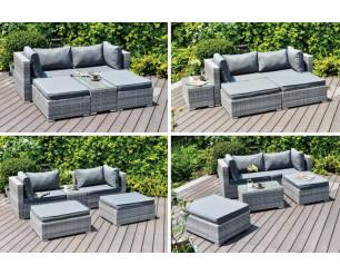 Enzo Rattan Garden Furniture Sofa Lounge 5 Piece Set - In or Outdoor
