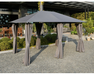 GSD 3m x 4m Large Lilly Gazebo With Side Curtains - Grey
