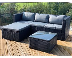 GSD Black Victoria Rattan Garden Furniture Corner Sofa Lounge Chase Set - Modular 4 Piece In/Outdoor