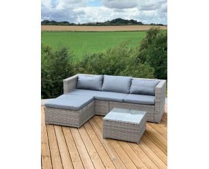 GSD Grey Victoria Rattan Garden Furniture Corner Sofa Lounge Chase Set - Modular 4 Piece In/Outdoor